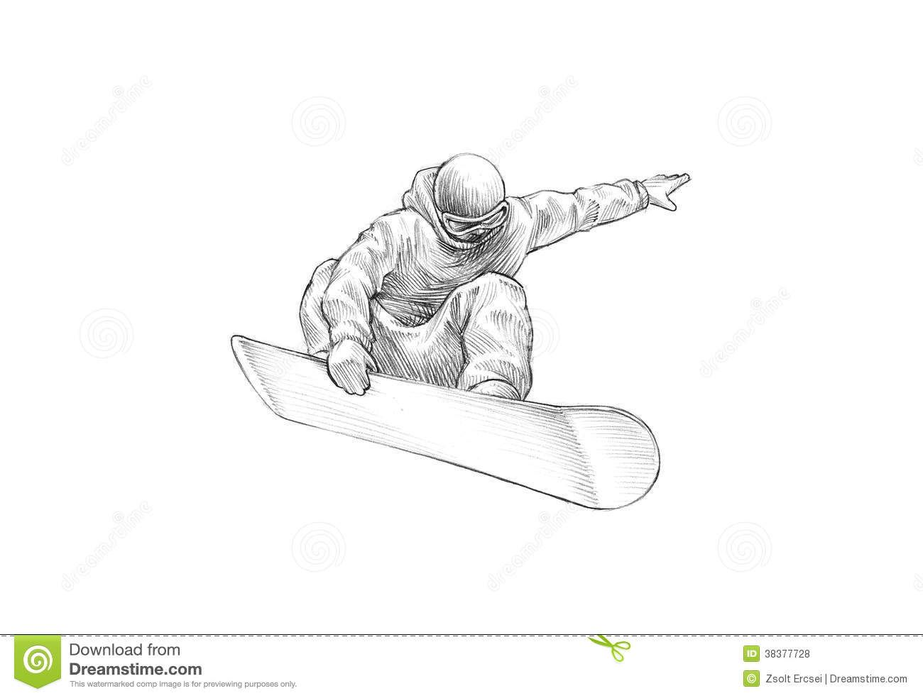 Hand Drawn Sketch Pencil Illustration Snowboarder Mid Air 38377728