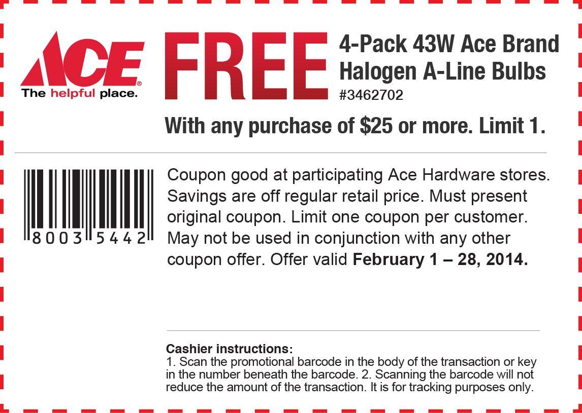 Ace Hardware Free Halogen Bulbs Printable Coupon Printable Coupons Ace Hardware Coupons