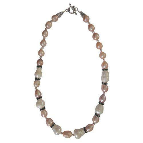 """Pearlz Ocean White and Orange Freshwater Pearl 18"""" Necklace"""