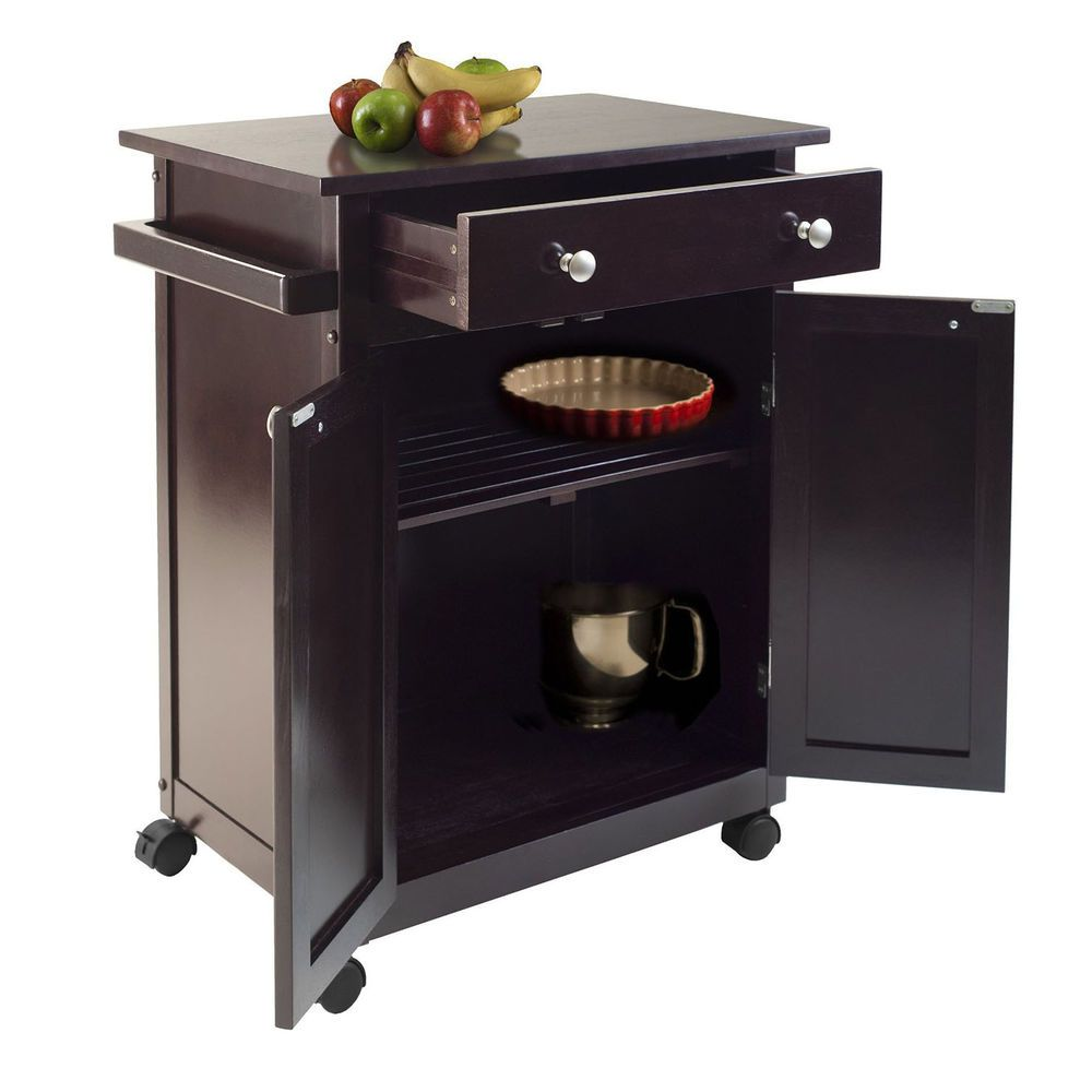 All Around Easy To Move Winsome Savannah Kitchen Cart Dark Brown Finish # Winsome