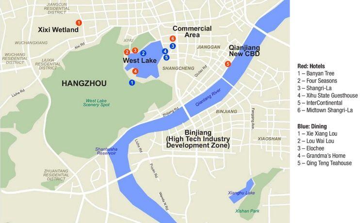 Hangzhou hotels and restaurants map Maps Pinterest Restaurants