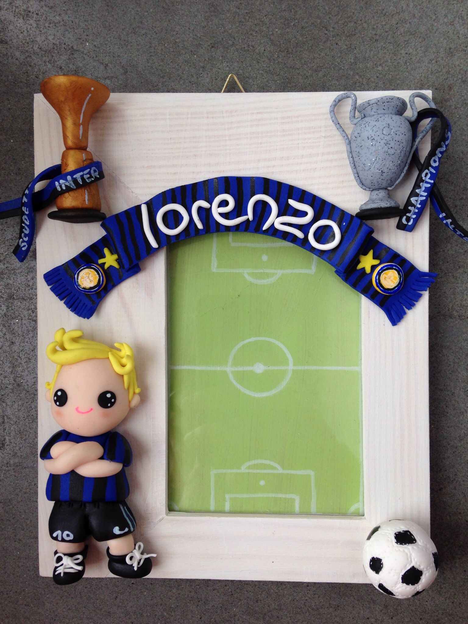 Inter Supporter Frame - made with fimo | Madera country con ...