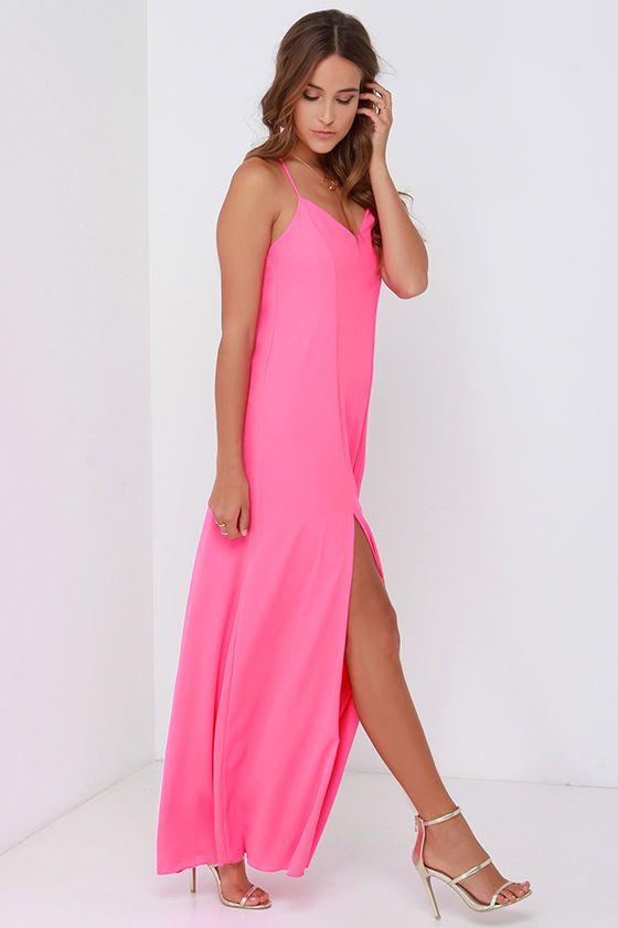bc5b5dbf46 Plume Oneself Hot Pink Maxi Dressat Lulus.com!