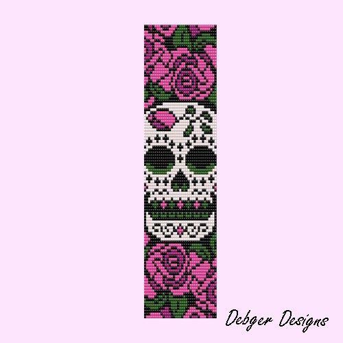Sugar skull Loom Bracelet Cuff Pattern SAVING buy 2 by LoomTomb, $6.50