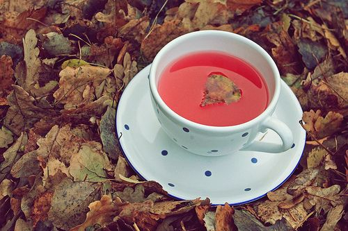 tea in autumn setting