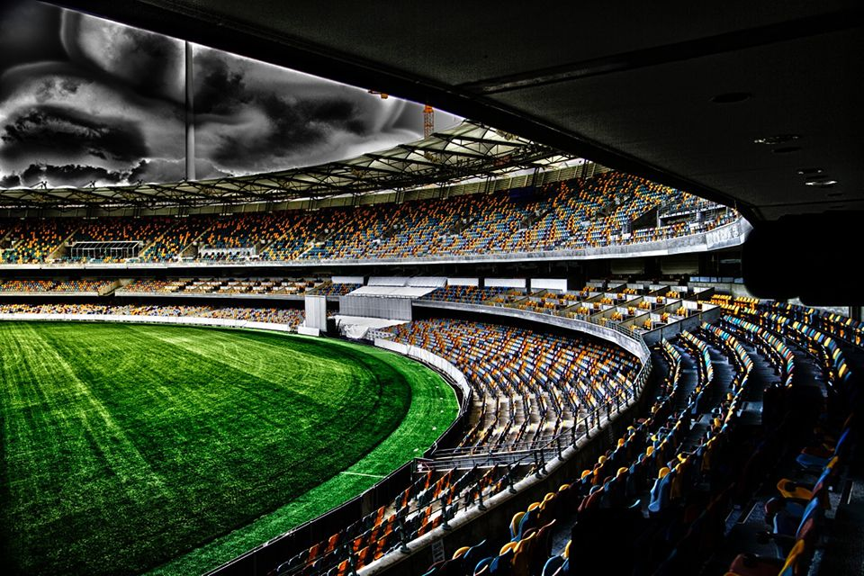 The Gabba.  Taken by student Tim Roberts, standing at the stand entrance near the Legends Room.  A great perspective.  Tim has combined seven images into one HDR image. The HDR effect has emphasised the dark clouds looming, creating a sense of drama and excitement.  Great work Tim!  Thanks for allowing us to share your image.