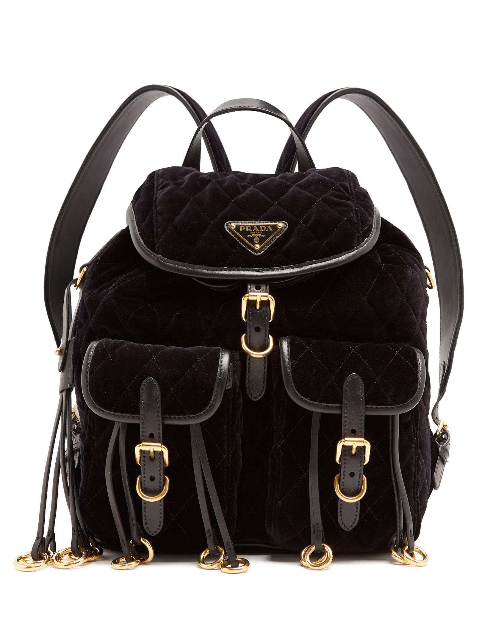 7dc744ef05e1 ... uk prada leather trimmed quilted velvet backpack. prada bags leather  11650 e4fb3