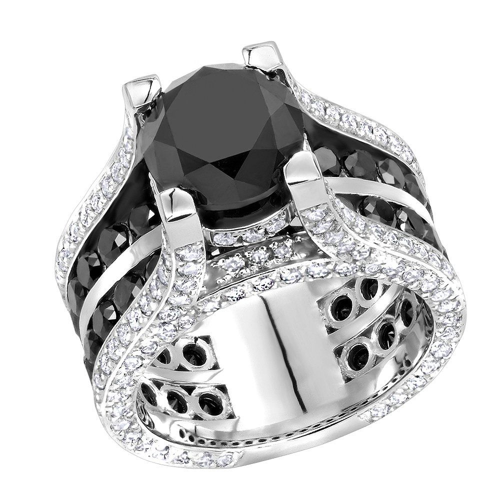 28b51e44b4cd81 This Unique 14K Gold Large White and Black Diamond Ring by Luxurman weighs  approximately 20 grams and showcases 12 carats of dazzling black and white  round ...