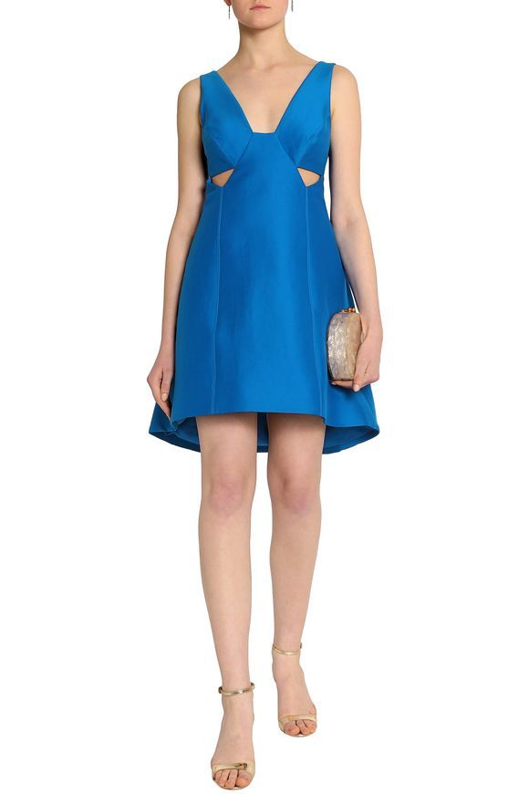 Halston Heritage Woman Cutout Cotton-blend Satin Dress Blue Size 14 Halston Heritage 100% Guaranteed For Sale Discount Prices uuayho2M