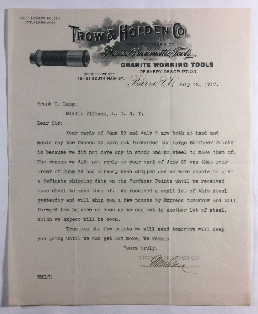 Trow Holden Co Barre Pneumatic Granite Tools Antique Letterhead