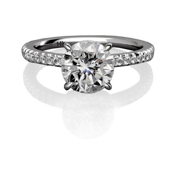 1.05 Ct Round Cut Certified F/VS2 Diamond Engagement Ring Pave 14k White Gold $1499 (save $3,001.00)