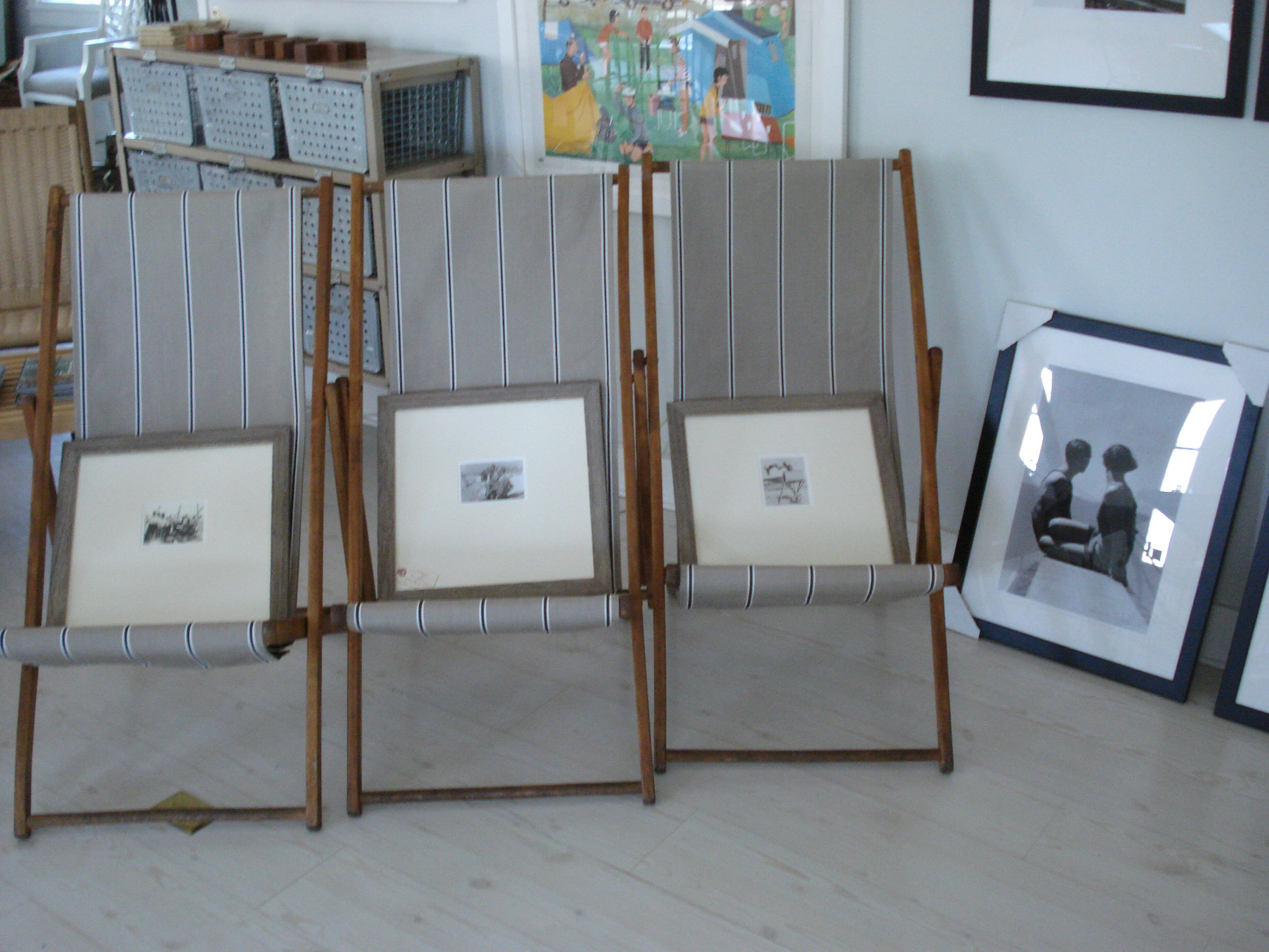 vintage deckchairs with Sunbrella stripe $280 via Coastal Vintage.