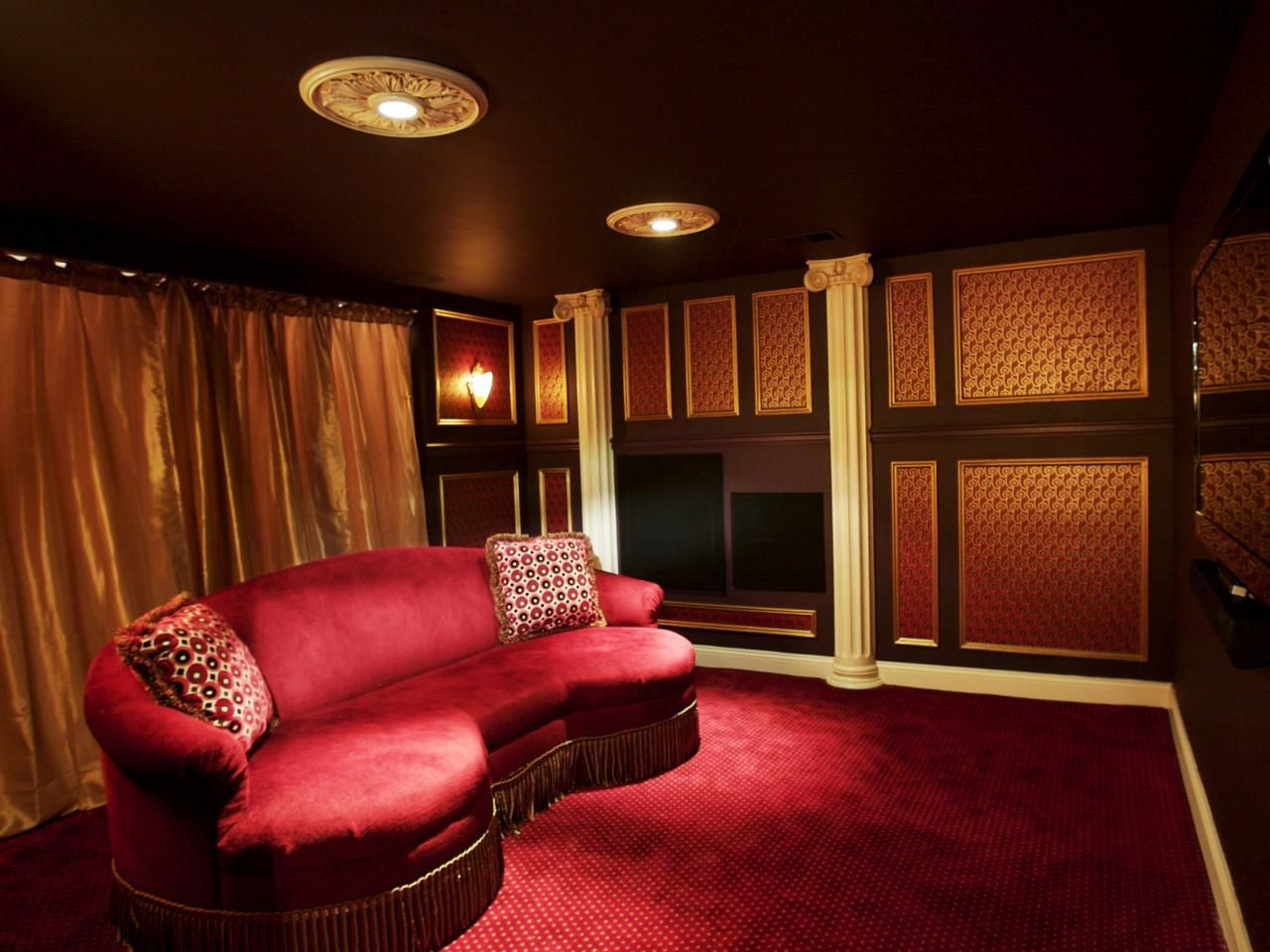Dramatic Home Theater Design With Curtains On Every Wall   DigsDigs    Basement/Bar/Theater   Pinterest   Theatre Design, Walls And Wall Curtains Part 88