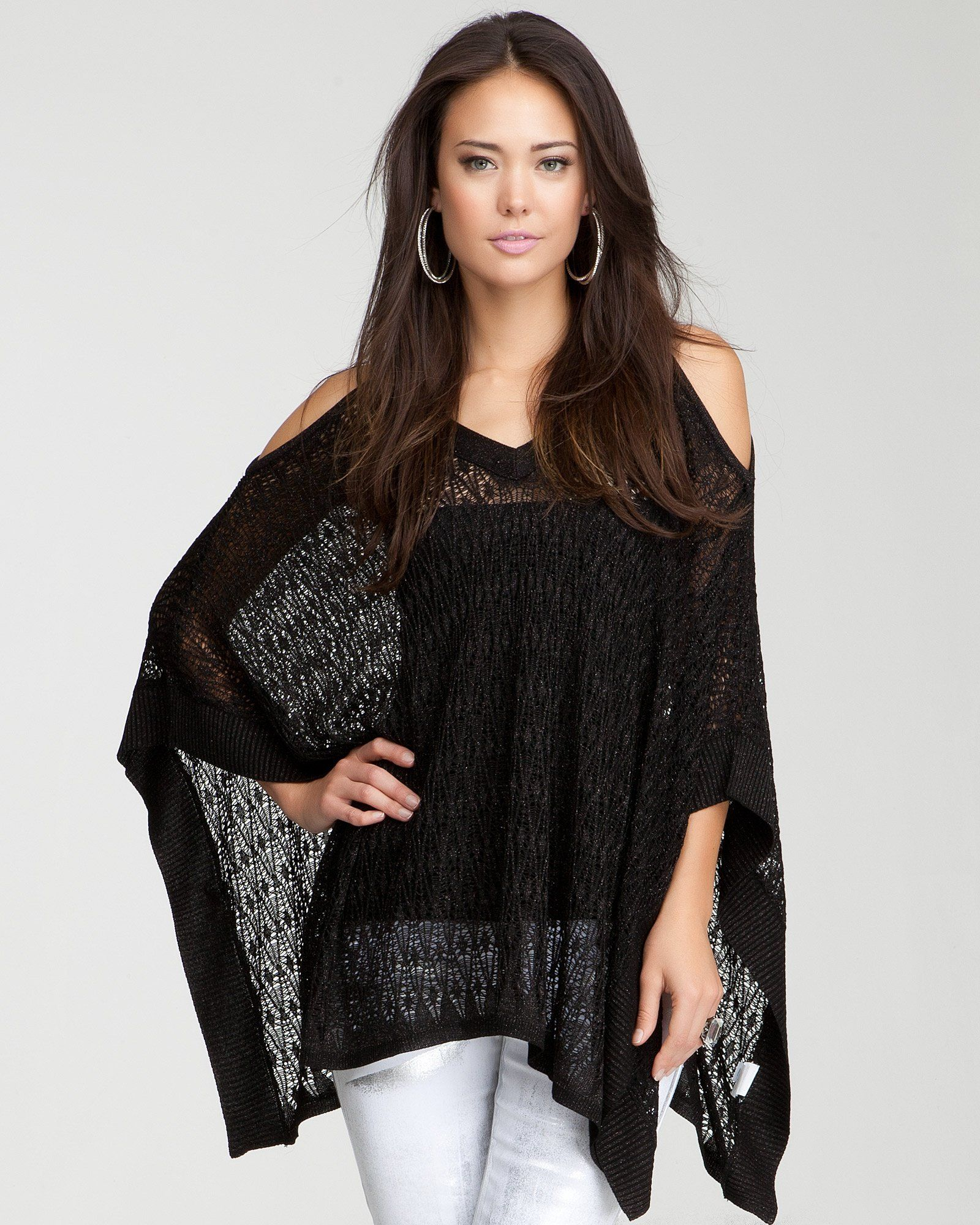 7458e9bc54c11 10. a chic jacket or cover-up  bebe Cold Shoulder Poncho   bebe   wishesanddreams