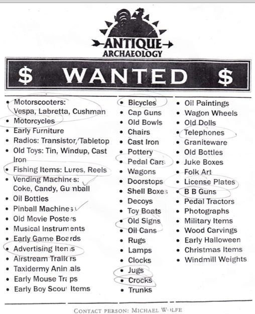 American Pickers Wanted List American Pickers Pickers Antique Archeology