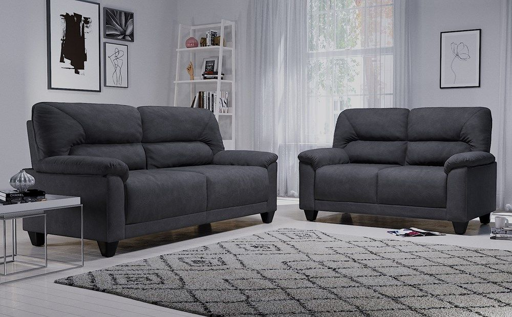 Austin Small Slate Grey Plush Fabric 3 2 Seater Sofa Set Furniture Choice Furniture Choice Sofa Set Furniture