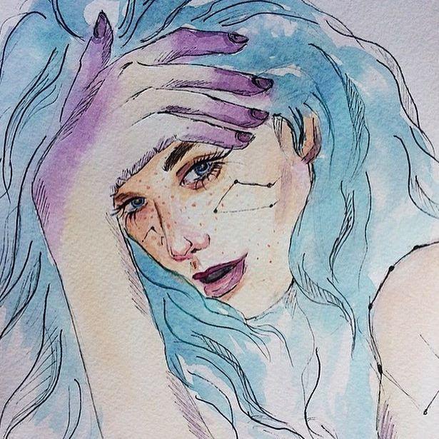 Внеземная красавица Лора💜  #арт#акварель#рисую#муза#внеземная#art#aquarelle#watercolor#water#myloves#artmodel#instaart#topcreator#artworld#gallery#mywork#mygallery#ranhgallery#painting#p