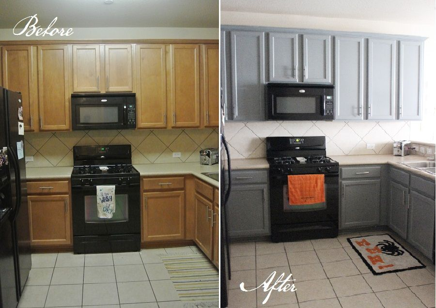 Kitchen Before And After For The Home Pinterest Kitchens - Grey kitchen cabinets with black appliances