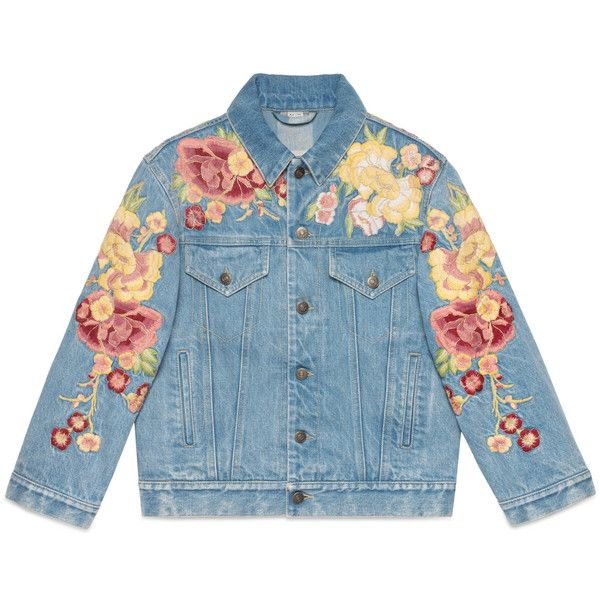 3a176fe68 Gucci Embroidered Floral Denim Jacket ($3,300) ❤ liked on Polyvore featuring  outerwear, jackets, denim, leather & casual jackets, ready-to-wear, women,  ...