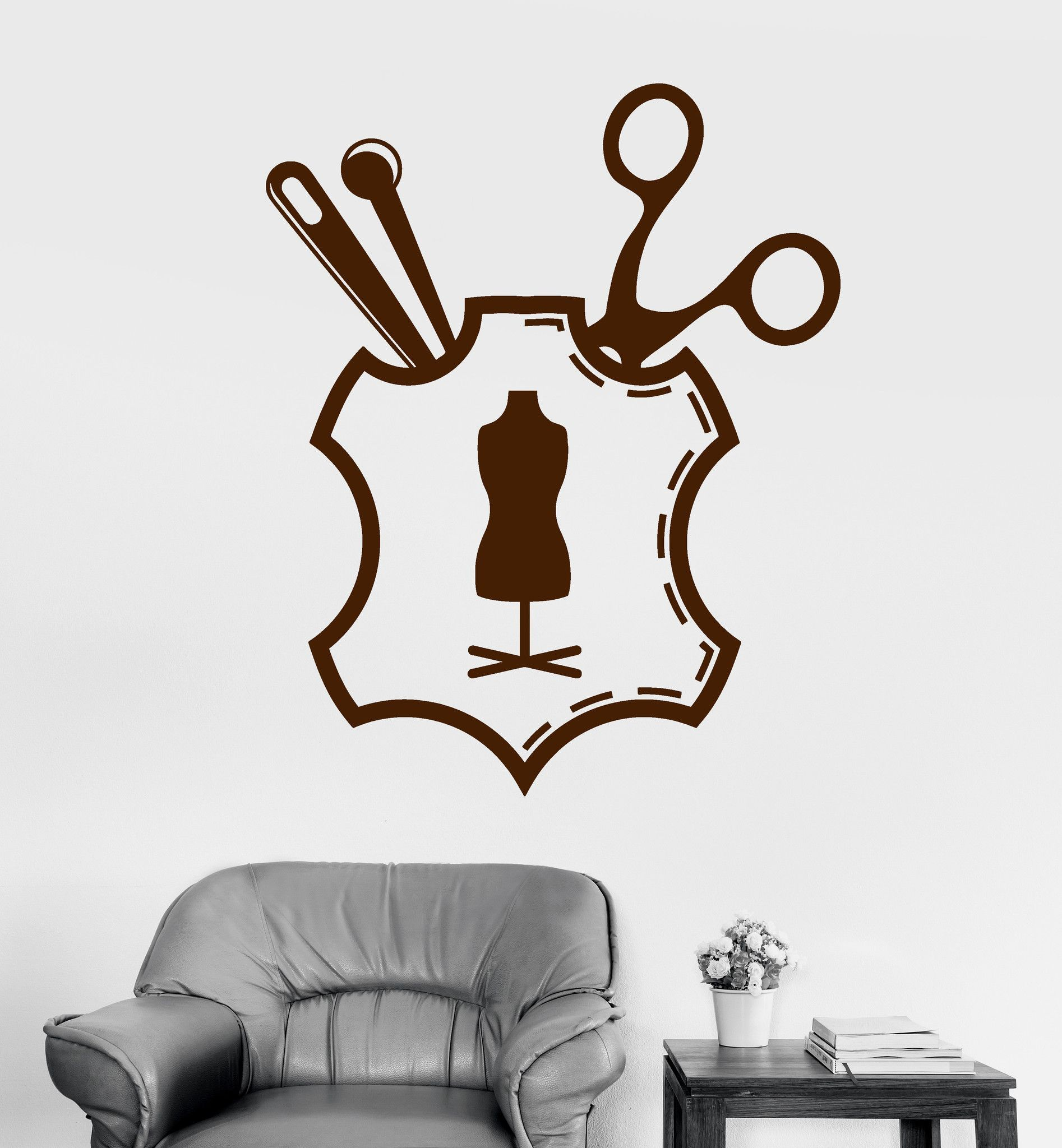 Vinyl Wall Decal Sewing Tailor Atelier Fashion Designer Clothing