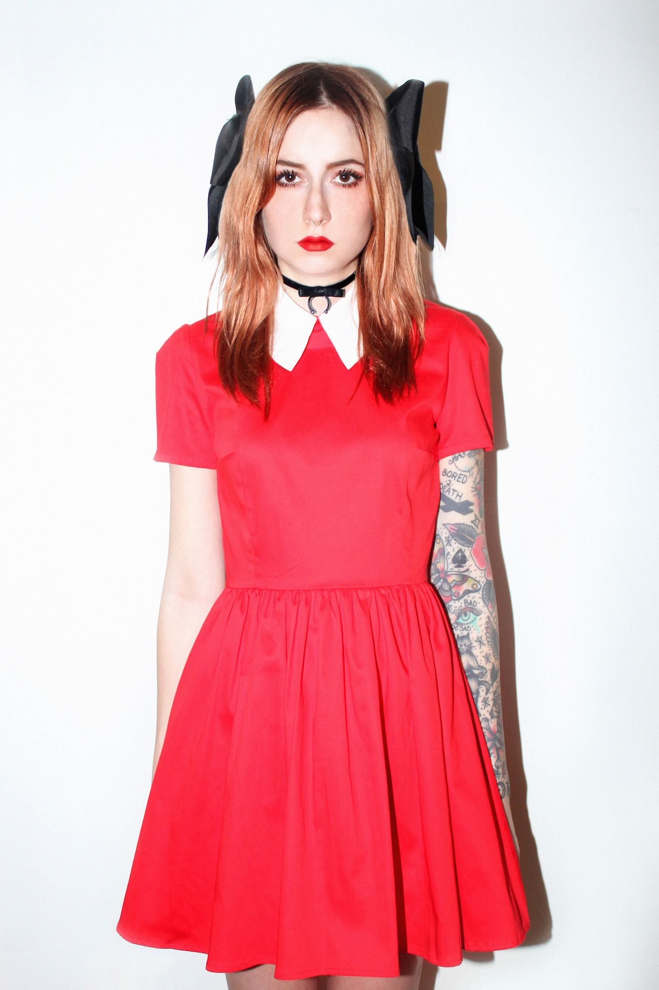 Grady Dress Red Satin and White Collar