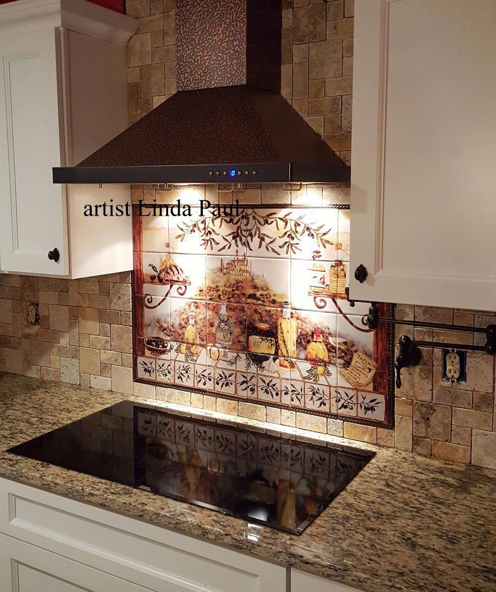 Beautiful Italian Tile Backsplash Mural Of A Kitchen Window