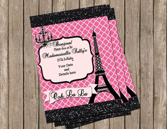 Teen paris themed party invitation pink by missblissinvitations teen paris themed party invitation pink by missblissinvitations 1500 filmwisefo