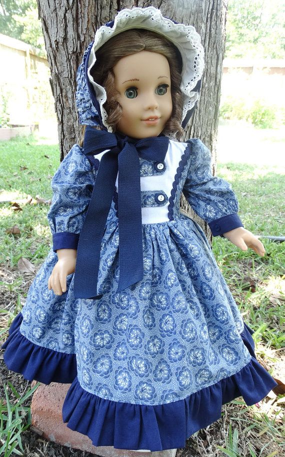 """RESERVED LISTING 18"""" Doll Clothes Civil War Style Gown and Bonnet Fits American Girl Marie Grace, Cecile, Addy"""