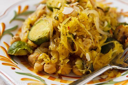 Spaghetti Squash With Roasted Brussels Sprouts And Peas Recipe