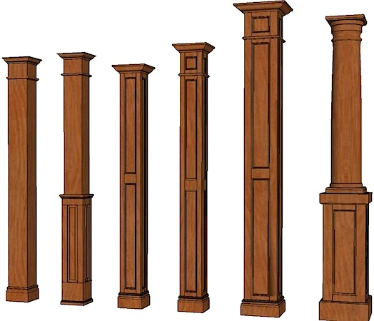 Wood posts and columns columns stain grade columns for Architectural wood columns