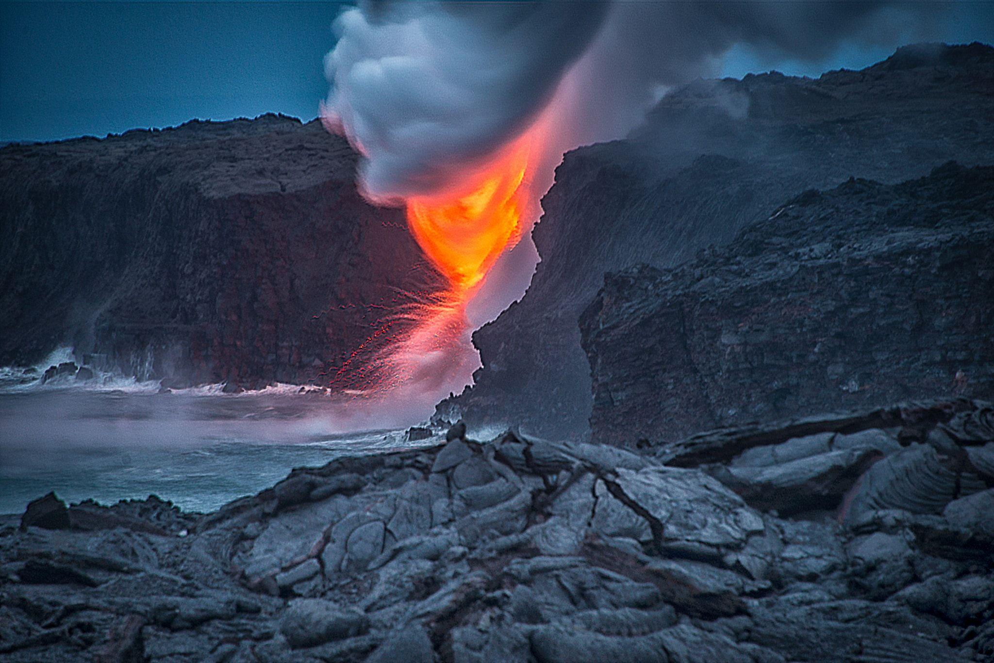 Lava - Lava Entering the pacific ocean in Kalapana Hawaii