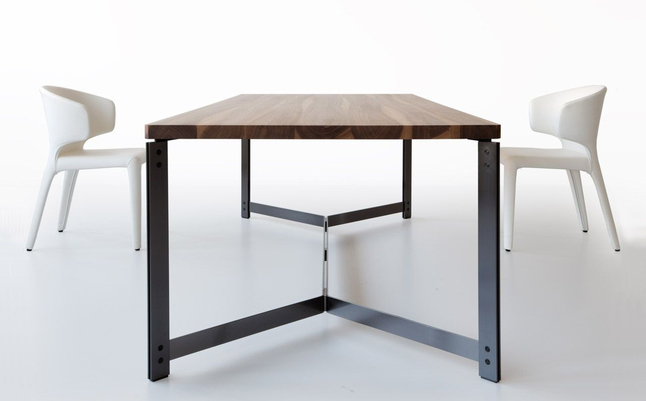 Contemporary dining table in wood and metal db11 by for Steel dining table design
