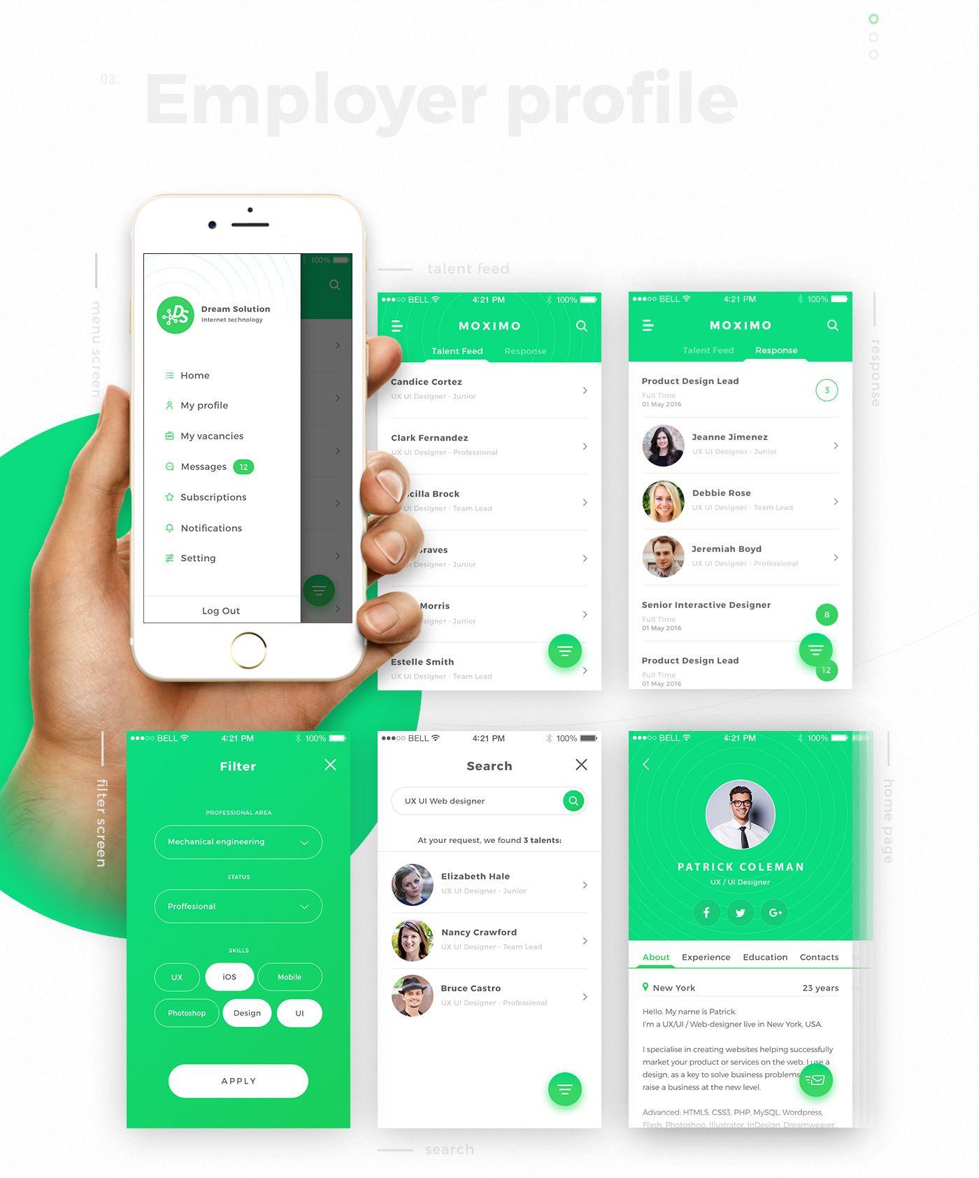 Moximo. Recruiting app. on Behance Приложения