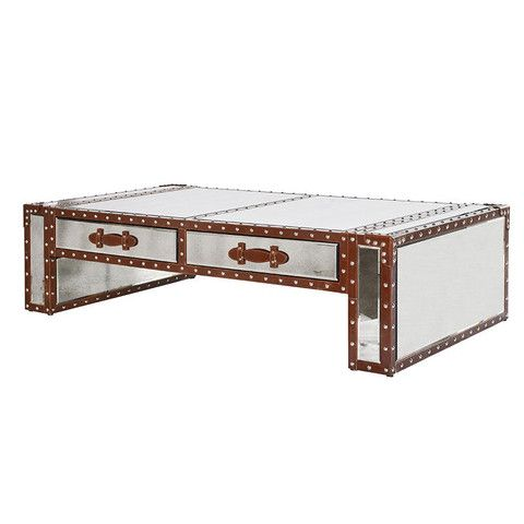 the flying dutchman mirror & leather trunk coffee table | leather