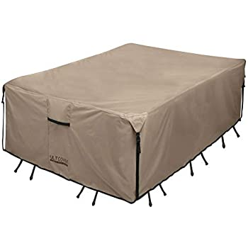 Amazon Com Ultcover Rectangular Patio Heavy Duty Table Cover 600d Tough Canvas In 2020 Outdoor Furniture Covers Waterproof Outdoor Furniture Patio Furniture Covers