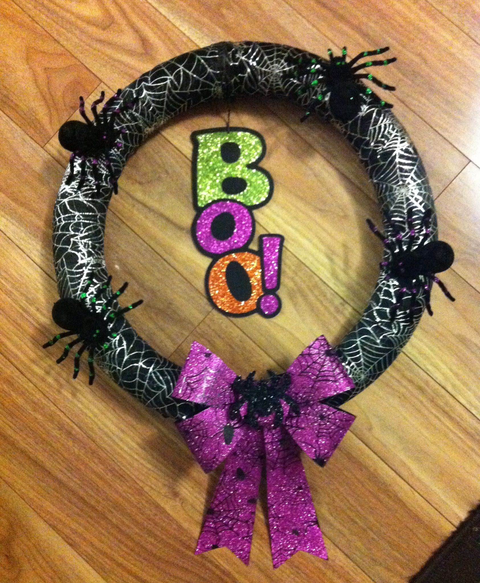 Halloween Wreath I Made Using A Pool Noodle I Had No Use For And A Few Dollar Store Accessories
