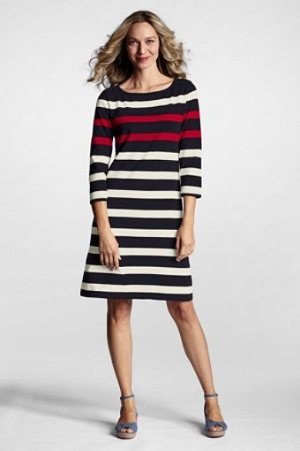 8efc1a1ce058fd Lands  End Women s 3 4-sleeve Sailor T-shirt Dress I tried this on at Sears.  It is made of a nice thick material so no shaping garments are needed and  it ...