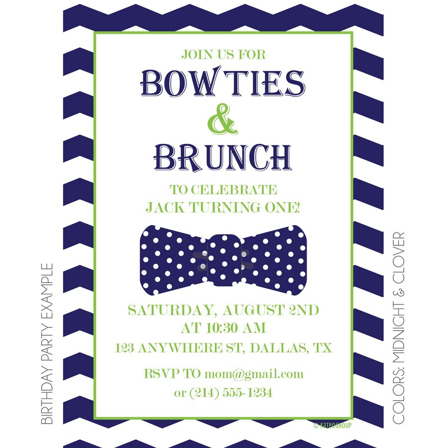 Bowties and Brunch Baby Shower Invitation by KateOGroup #BabyShower ...