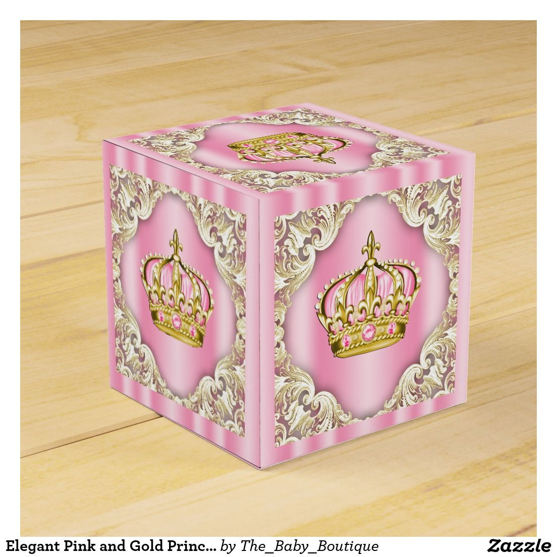 Elegant Pink and Gold Princess Crown Favor Box | Girl Baby Shower ...