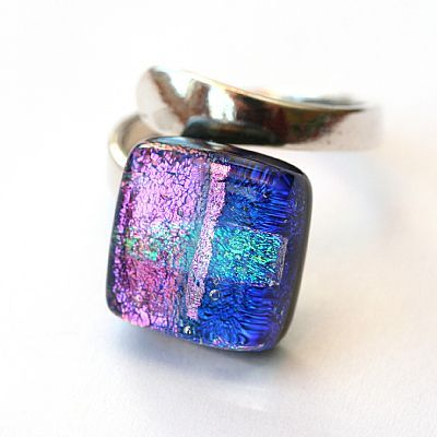 Pink Dichroic Fused Glass and Sterling Silver Ring