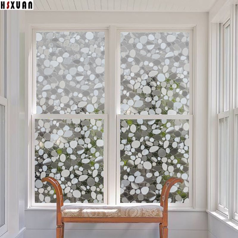 Decorative window film sunscreen 50x100cm 3d pebbles translucent living room glass window stickers hsxuan brand 508003
