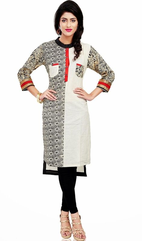 Black and off white cotton kurti is a formal straight cut kurti. Tunic is garnished with up down cut with block print in sleeves and half one side and other half will be plain and woven lace in sleeves. Back side of tunic has printed shirt yoke and rest will be plain off white. #ClassicalTunic