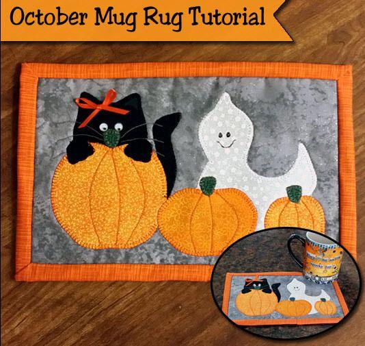 Freebie: Halloween Mug Rug pattern + tute (Quilting | Pinterest | Nähen