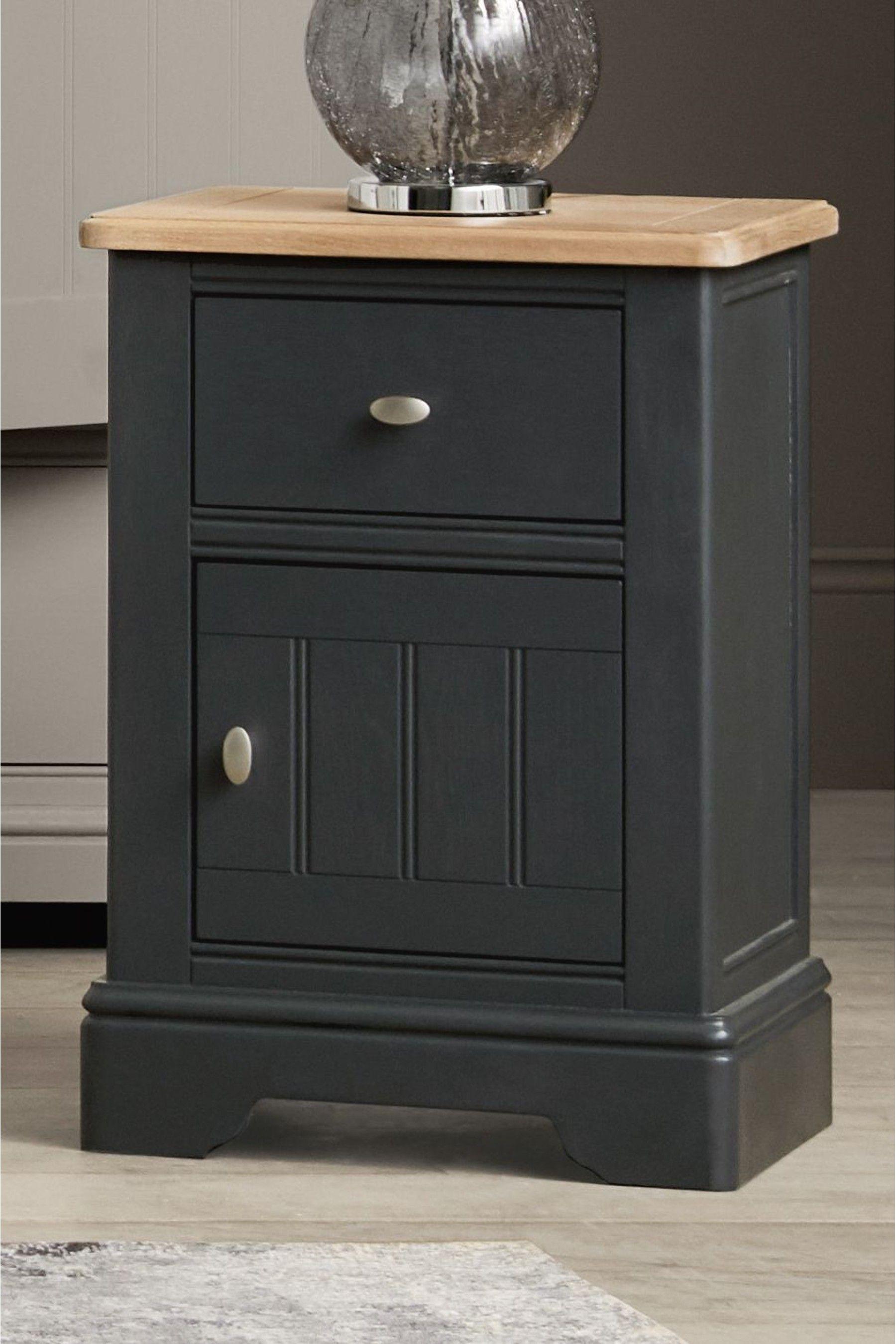 Next Hampton Storage 1 Drawer Bedside Table Grey In 2020 Painted Bedside Tables Pink Bedside Tables Drawers