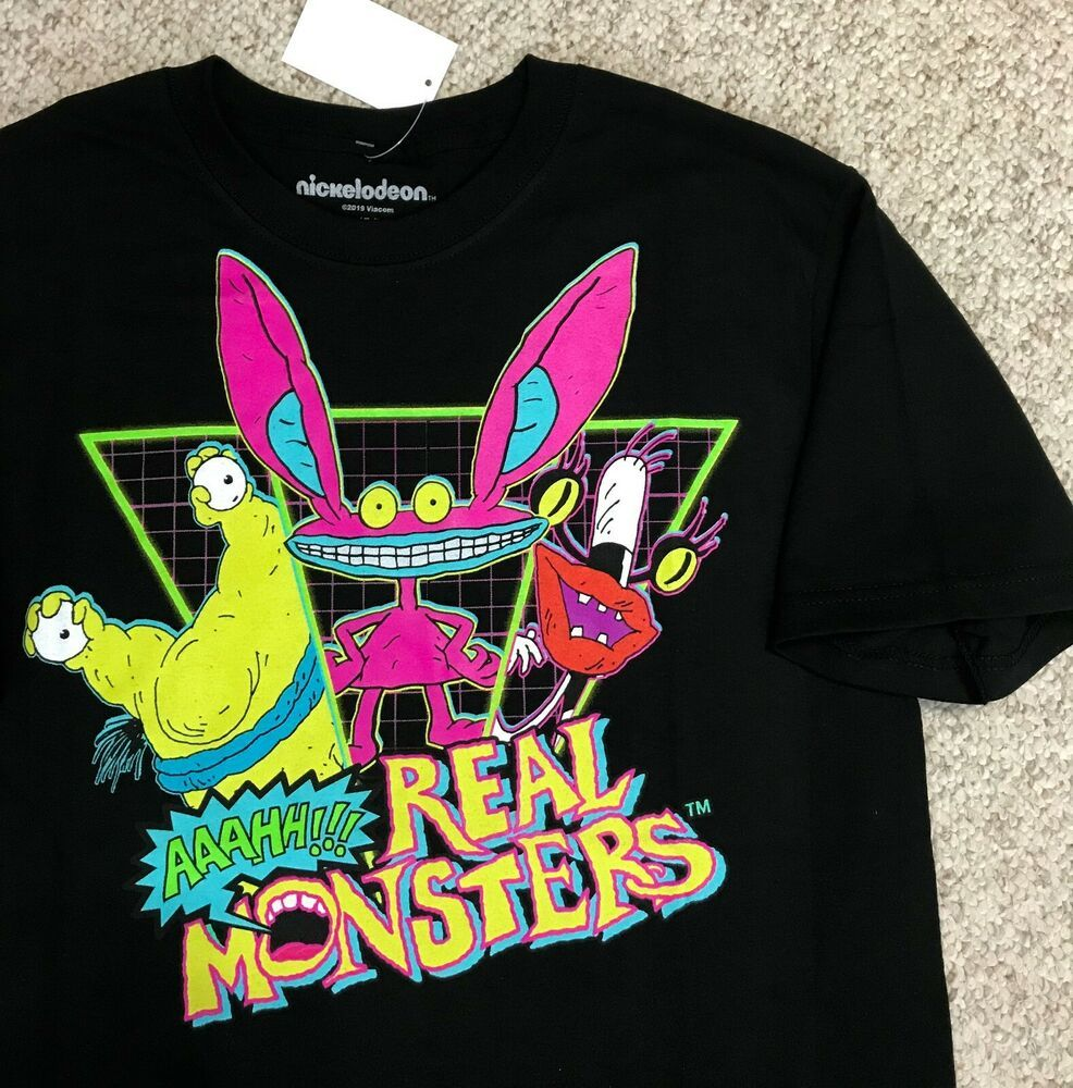 ae013ca14a57 REAL MONSTERS T-SHIRT Black Neon Pink Yellow Retro 90s Nickelodeon ADULT #