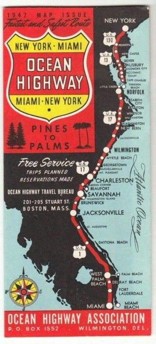 US Highway map from 1947 Florida Pinterest Highway map
