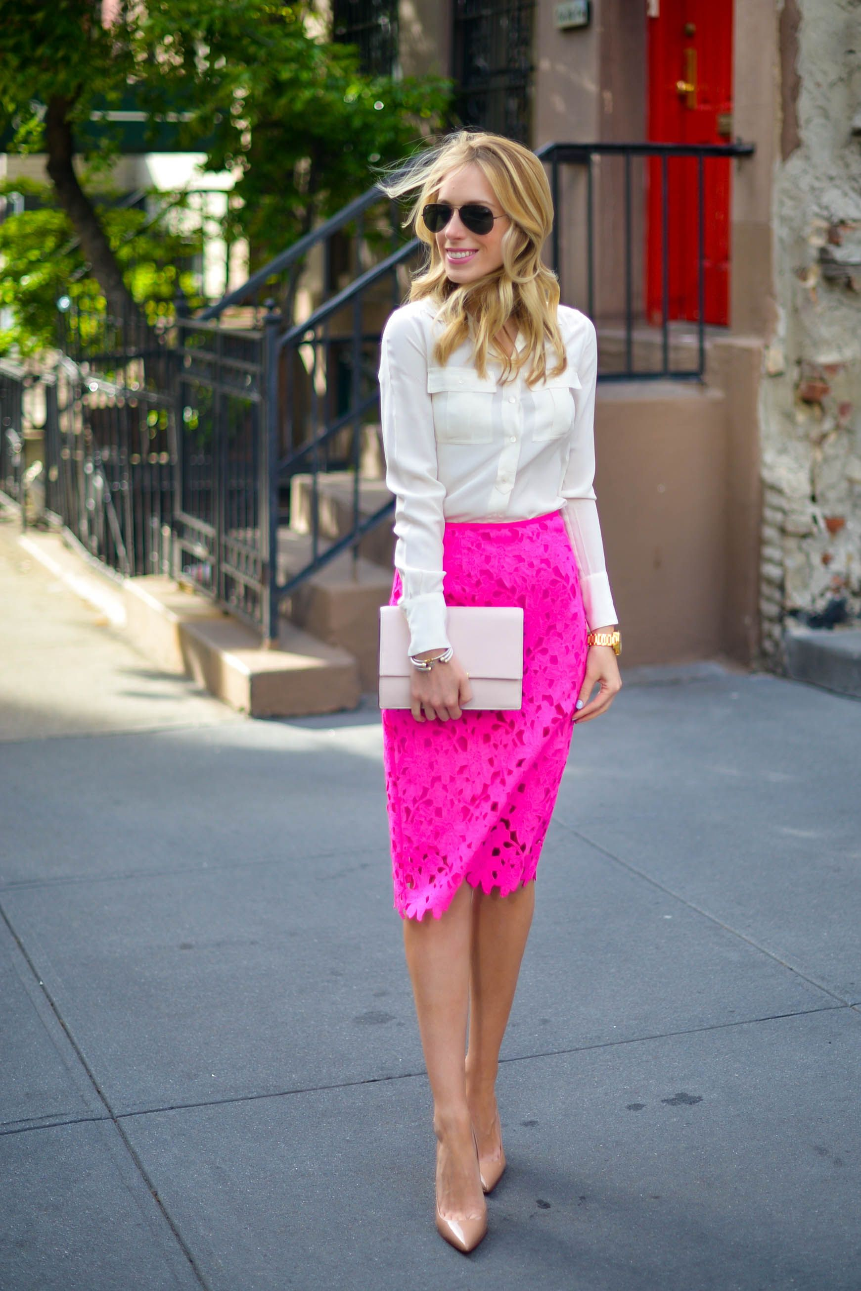 969022d909 This outfit gave me the idea to wear my white short sleeve button up shirt, hot  pink lace pencil skirt, nude patent heels, and black sunglasses.