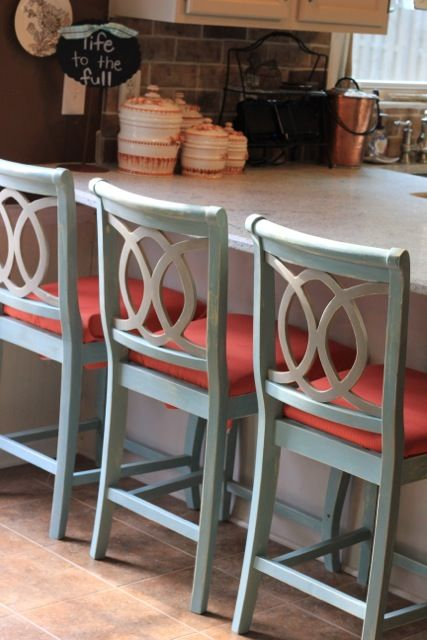 Chalk Painted Barstools And Recovering Cushions Bar Stool Makeover Painted Bar Stools Kitchen Bar Stools