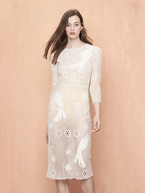 RAJAC Ecru | | Dresses, Mesh dress, Embroidery dress
