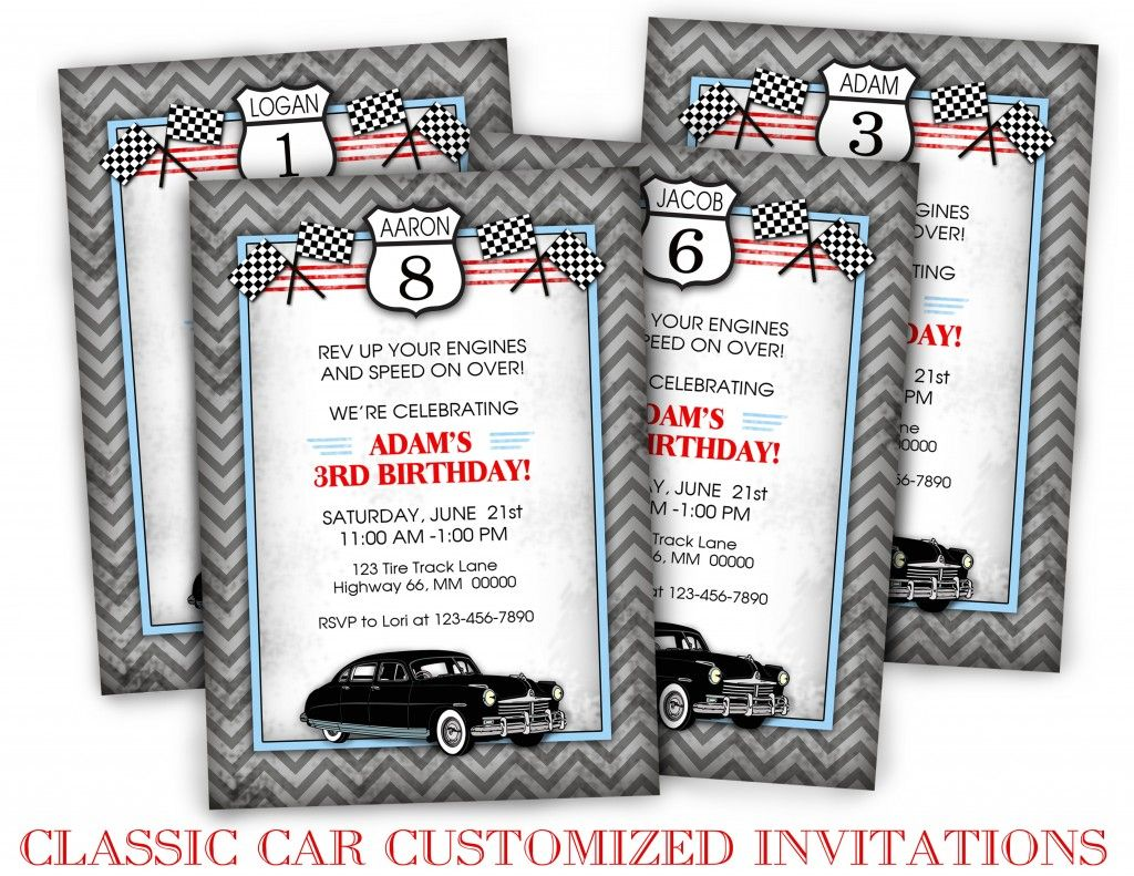 Classic Car Birthday Customized Invitations | party favor ...